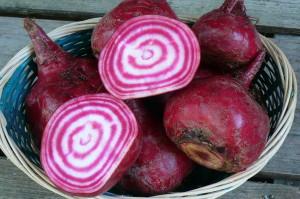 Chioggia beets, sliced