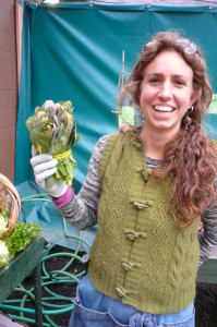 Eliza with green cabbage raab