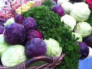 red cabbage and green cabbage at farmer's market