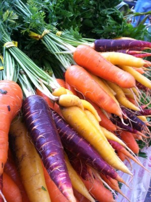 Rainbow carrots bunched