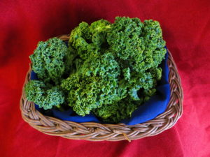 Green kale in a basket